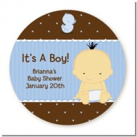 Baby Boy Asian - Round Personalized Baby Shower Sticker Labels