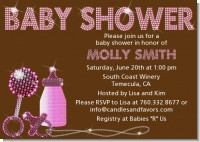 Baby Bling Pink - Baby Shower Invitations