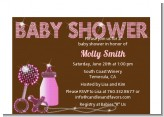 Baby Bling Pink - Baby Shower Petite Invitations