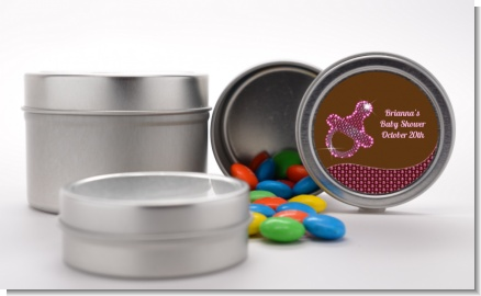 Baby Bling Pink Pacifier - Custom Baby Shower Favor Tins