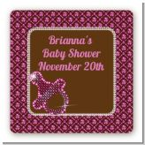 Baby Bling Pink - Square Personalized Baby Shower Sticker Labels