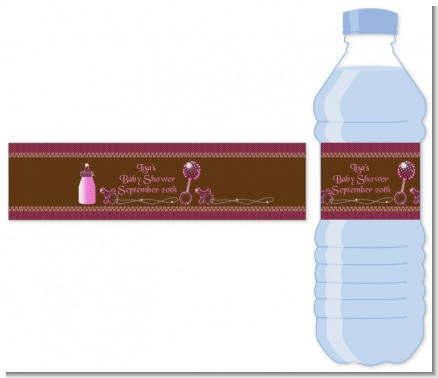 Baby Bling Pink - Personalized Baby Shower Water Bottle Labels