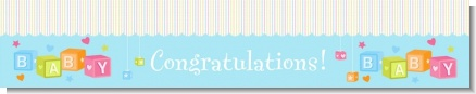 Baby Blocks Blue - Personalized Baby Shower Banners