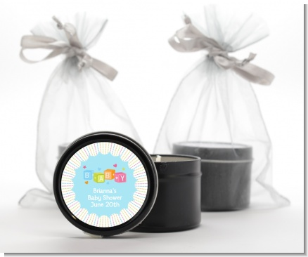 Baby Blocks Blue - Baby Shower Black Candle Tin Favors