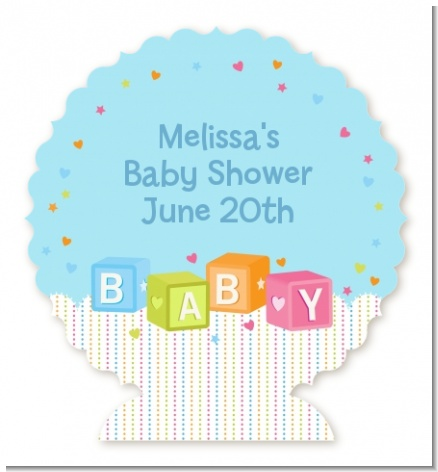 Baby Blocks Blue - Personalized Baby Shower Centerpiece Stand