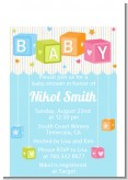 Baby Blocks Blue - Baby Shower Petite Invitations