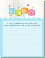 Baby Blocks Blue - Baby Shower Notes of Advice