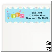 Baby Blocks Blue - Baby Shower Return Address Labels