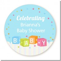 Baby Blocks Blue - Personalized Baby Shower Table Confetti