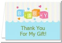 Baby Blocks Blue - Baby Shower Thank You Cards