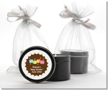Baby Blocks - Baby Shower Black Candle Tin Favors