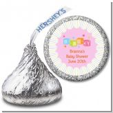 Baby Blocks Pink - Hershey Kiss Baby Shower Sticker Labels