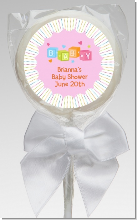 Baby Blocks Pink - Personalized Baby Shower Lollipop Favors