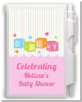 Baby Blocks Pink - Baby Shower Personalized Notebook Favor
