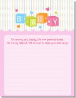Baby Blocks Pink - Baby Shower Notes of Advice