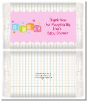 Baby Blocks Pink - Personalized Popcorn Wrapper Baby Shower Favors