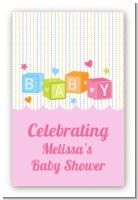 Baby Blocks Pink - Custom Large Rectangle Baby Shower Sticker/Labels