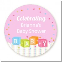 Baby Blocks Pink - Personalized Baby Shower Table Confetti