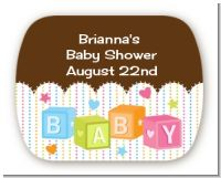 Baby Blocks - Personalized Baby Shower Rounded Corner Stickers
