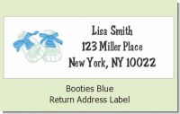 Booties Blue - Baby Shower Return Address Labels