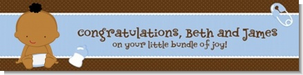 Baby Boy African American - Personalized Baby Shower Banners