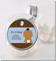 Baby Boy African American - Personalized Baby Shower Candy Jar