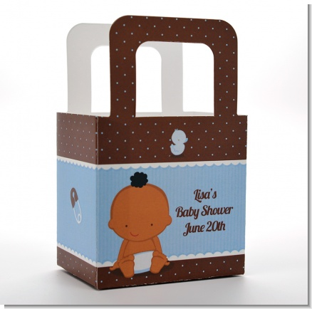 Baby Boy African American - Personalized Baby Shower Favor Boxes