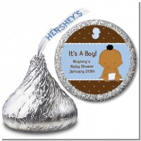 Baby Boy African American - Hershey Kiss Baby Shower Sticker Labels
