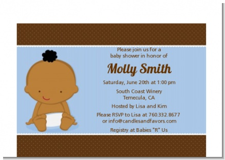 Baby Boy African American - Baby Shower Petite Invitations