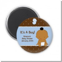 Baby Boy African American - Personalized Baby Shower Magnet Favors
