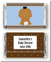 Baby Boy African American - Personalized Baby Shower Mini Candy Bar Wrappers