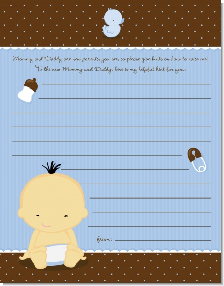 Baby Boy Asian - Baby Shower Notes of Advice
