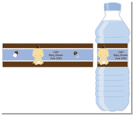 Baby Boy Asian - Personalized Baby Shower Water Bottle Labels