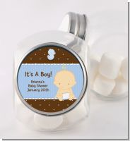 Baby Boy Caucasian - Personalized Baby Shower Candy Jar