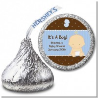 Baby Boy Caucasian - Hershey Kiss Baby Shower Sticker Labels