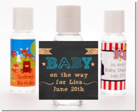 Baby Boy Chalk Inspired - Personalized Baby Shower Hand Sanitizers Favors