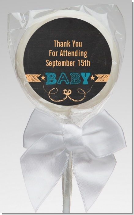 Baby Boy Chalk Inspired - Personalized Baby Shower Lollipop Favors