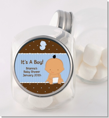 Baby Boy Hispanic - Personalized Baby Shower Candy Jar
