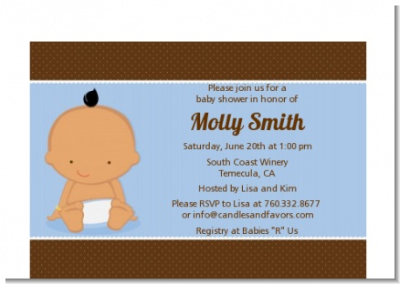 Baby Boy Hispanic - Baby Shower Petite Invitations