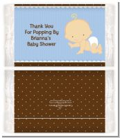 Baby Boy Caucasian - Personalized Popcorn Wrapper Baby Shower Favors