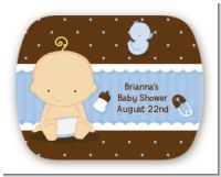 Baby Boy Caucasian - Personalized Baby Shower Rounded Corner Stickers