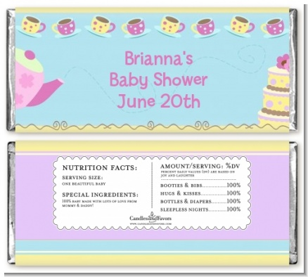 Baby Brewing Tea Party - Personalized Baby Shower Candy Bar Wrappers