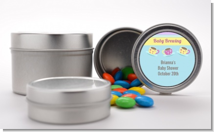 Baby Brewing Tea Party - Custom Baby Shower Favor Tins