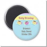 Baby Brewing Tea Party - Personalized Baby Shower Magnet Favors