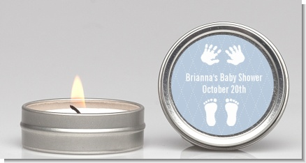 Baby Feet Pitter Patter Blue - Baby Shower Candle Favors