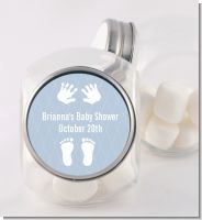 Baby Feet Pitter Patter Blue - Personalized Baby Shower Candy Jar