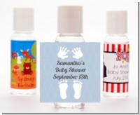 Baby Feet Pitter Patter Blue - Personalized Baby Shower Hand Sanitizers Favors