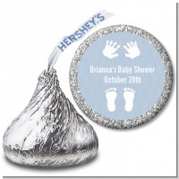 Baby Feet Pitter Patter Blue - Hershey Kiss Baby Shower Sticker Labels