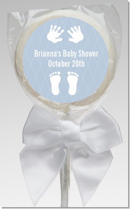 Baby Feet Pitter Patter Blue - Personalized Baby Shower Lollipop Favors