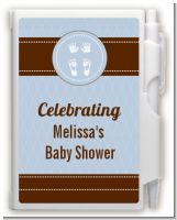 Baby Feet Pitter Patter Blue - Baby Shower Personalized Notebook Favor